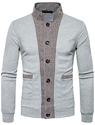 cheap -Men's Daily Regular Cardigan,Color Block Stand Long Sleeves Polyester Winter Fall Medium Micro-elastic