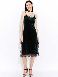 baratos -Mulheres Moda de Rua Rendas Vestido - Renda, Sólido Longo
