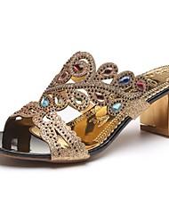 baratos -Mulheres Sapatos Couro Ecológico Primavera Solados com Luzes Sandálias Salto de bloco Dedo Aberto Gliter com Brilho para Preto Bege Azul