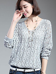 Women's Casual/Daily Short Cardigan,Print Crew Neck Long Sleeve Polyester Spring Fall Medium Stretchy