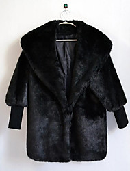 Women's Daily Simple Casual Winter Fall Fur Coat,Solid Shawl Lapel Long Sleeve Long Rabbit Fur