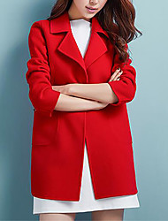 cheap -Women's Plus Size Coat - Solid Colored Shirt Collar
