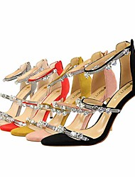 Women's Sandals Comfort Summer Fall Leatherette Dress Party & Evening Office & Career Imitation Pearl Stiletto Heel Yellow Ruby Blushing