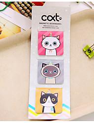 3 PC / Satzkarikaturkatze magnetisches Bookmark (gelegentliche Farbe)