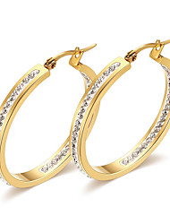 baratos -Mulheres Zircônia cúbica Zircônia Cubica Brincos Compridos - Vintage / Elegant / Fashion Dourado Formato Circular Brincos Para Casamento