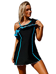 cheap -Women's Color Block Print One-piece Swimwear Blue Black Fuchsia