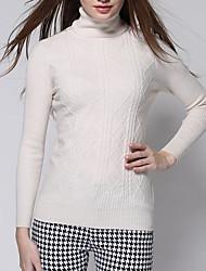 Standard Cashmere Da donna-Casual Semplice Tinta unita A collo alto Manica lunga Altro Autunno Inverno Medio spessore Media elasticità