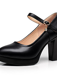 cheap -Women's Shoes Leather Cowhide Spring Summer Formal Shoes Heels Chunky Heel Round Toe Buckle Hollow-out for Office & Career Dress Party &
