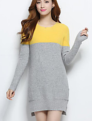 Women's Daily Casual Long Cashmere,Print Round Neck Long Sleeves Others Winter Fall Medium Stretchy