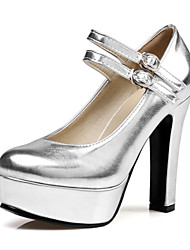 cheap -Women's Shoes Leatherette Spring Summer Comfort Heels Walking Shoes Chunky Heel Round Toe Buckle for Casual Dress Gold Black Silver