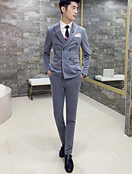 cheap -Men's Work Simple Casual Spring Fall Regular Suits, Solid Peaked Lapel Polyester