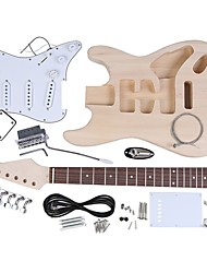 cheap -ST Style Electric Guitar Basswood Body Maple Neck Rosewood Fingerboard DIY Kit Set
