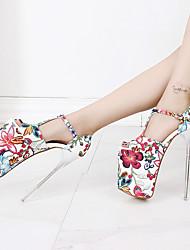 preiswerte -Damen Schuhe PU Frühling Herbst T-Riemen Pumps High Heels Stöckelabsatz Peep Toe Schnalle Blume für Party & Festivität Braun Rot