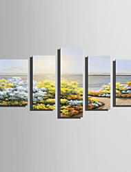 E-HOME Stretched Canvas Art Beautiful Seaside View Decoration Painting Set Of 5
