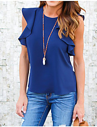 Women's Going out Casual/Daily Simple Cute Blouse,Solid Round Neck Sleeveless Polyester