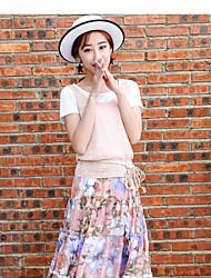 Women's Daily Soak Off Summer T-shirt Dress Suits,Floral Round Neck Short Sleeve