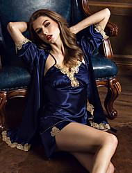 Недорогие -женский шелковый искусственный шелковый пижама. сексуальна. чистый цвет. двухсекционный наряд. пижама