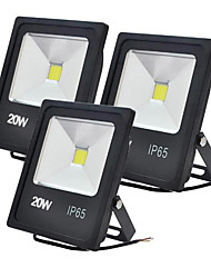 Jiawen 3pcs 20W Cool White or Warm White LED Flood Lights Waterproof IP65 for Outdoor (AC 85-265V)