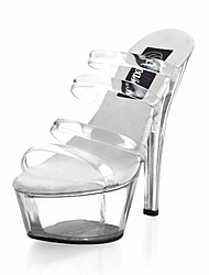 cheap -Women's Sandals Formal Shoes Summer PU Party & Evening Dress Crystal Stiletto Heel Clear 5in & over