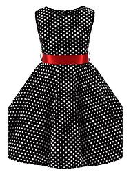 preiswerte -Mädchen Kleid Punkt Baumwolle Ganzjährig Ärmellos Schleife Schwarz
