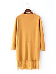 Ample Tricot Robe Femme Décontracté / Quotidien Sortie Vintage Chic de Rue,Couleur Pleine Col Ras du Cou Au dessus du genouManches