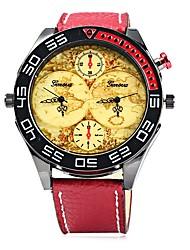 Муж. Модные часы Наручные часы Повседневные часы Китайский Кварцевый Крупный циферблат С двумя часовыми поясами Кожа Группа На каждый