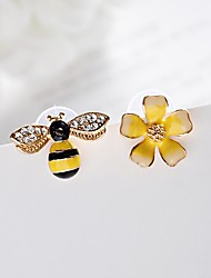 cheap -Women's Synthetic Diamond Mismatched Stud Earrings / Mismatch Earrings - Flower, Bee Classic, Fashion Light Yellow For Gift / Daily / Evening Party