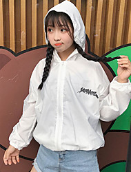 cheap -Women's Daily Simple Casual Summer Jacket,Letter Hooded Long Sleeve Regular Cotton