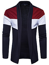 cheap -Men's Daily Going out Casual Regular Cardigan,Color Block Shirt Collar Long Sleeves Cotton Spring Fall Medium Stretchy