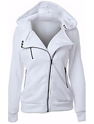 cheap -Women's Daily Simple Casual Winter Fall Jacket,Solid Hooded Long Sleeve Regular Acrylic