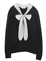 Standard Pullover Da donna-Casual Semplice Tinta unita Monocolore A V Manica lunga Cotone Autunno Medio spessore Media elasticità