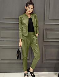 Maglietta Pantalone Completi abbigliamento Da donna Ufficio Semplice Primavera,Tinta unita Girocollo Manica lunga