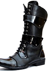 cheap -Men's Boots Fashion Boots Motorcycle Boots Combat Boots Fall Winter Synthetic Microfiber PU Casual Party & Evening Black 1in-1 3/4in