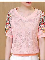 cheap -Women's T-shirt Print V Neck