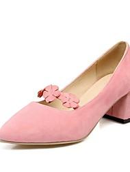 Women's Heels Basic Pump Formal Shoes Flower Girl Shoes Velvet Spring Office & Career Party & Evening Dress Flower Chunky HeelBlushing