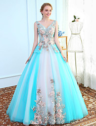 Ball Gown V-neck Floor Length Tulle Prom Formal Evening Wedding Party Dress with Embroidery by SG
