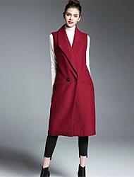 preiswerte -Damen Solide Einfach Freizeit Alltag Lang Mantel, Hemdkragen Herbst Wolle Druck