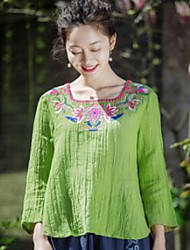 YOUJIN Women's Casual/Daily Vintage Chinoiserie T-shirtSolid Embroidery Square Neck Long Sleeve Cotton Linen