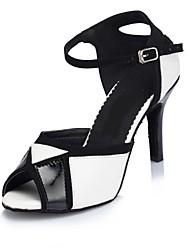 Women's Latin Leather Sandals Indoor Customized Heel Black/White
