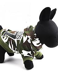 baratos -Gato Cachorro Camisola com Capuz Roupas para Cães camuflagem Verde Algodão Ocasiões Especiais Para animais de estimação