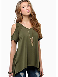 cheap -Women's Daily Going out Casual T-shirt,Solid Round Neck Short Sleeves Cotton