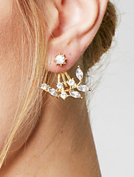 cheap -Women's Stud Earrings / Front Back Earrings - Leaf Basic, Simple Style, Fashion Silver / Golden For Daily / Casual