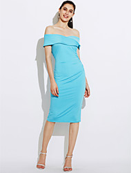 cheap -Women's Casual Street chic Bodycon Dress - Solid Colored, Backless Ruched High Rise Boat Neck