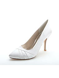 cheap -Women's Shoes Satin Spring Summer Formal Shoes Wedding Shoes Stiletto Heel Pointed Toe Ruffles for Wedding Party & Evening White
