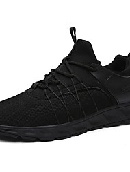 Men's Sneakers Comfort Spring Fall Breathable Mesh Casual Outdoor Lace-up Flat Heel White Black Flat