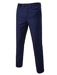 Da uomo A vita medio-alta Semplice Elastico Lavoro Pantaloni,Dritto Tinta unita