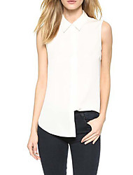 cheap -Women's Business Daily Casual Casual Sexy Street chic Spring Summer Shirt,Solid Shirt Collar Sleeveless Polyester Medium