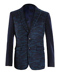 Men's Casual/Daily Work Simple Spring Blazer,Print Peaked Lapel Long Sleeve Regular Polyester