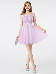 cheap -A-Line / Fit & Flare V Neck Short / Mini Tulle Cocktail Party / Homecoming / Prom Dress with Appliques / Flower by TS Couture®