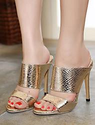 Damen Schuhe Echtes Leder PU Frühling Sommer Pumps High Heels Für Normal Gold Silber